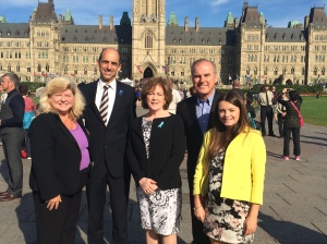 VRA member Maria McDonald BL [far right] meeting the Canadian Minister of Public Safety Steven Blaney with Sue O'Sullivan Federal Ombudsman for Victims of Crime, Mary and Frank Fetchet, founders of Voice of September 11th at the Canadian Police and Peace Officers 37th Annual Memorial Service, September 28th, 2014, Parliament Hill, Ottawa, Ontario, Canada