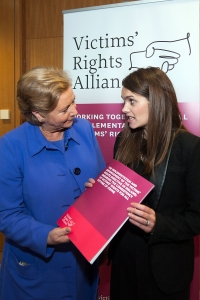 Ms. Frances Fitzgerald T.D., Minister for Justice and Equality with Maria McDonald BL the author of the VRA Report on ''The Implementation & Enforcement of the Victim's Rights Directive in Ireland: Ensuring the Consistency of Victims' Rights for all Victims of Crime'